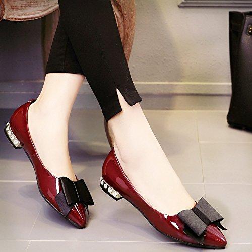 zapatos Knot casuales Rhinestone cuero primavera de Una Claret KHSKX Butterfly nueva planos zapatos 8qwCxP01