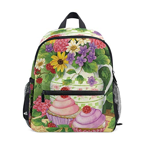(Beautiful Flowers Cupcakes Raspberry School Backpack Canvas Rucksack Large Capacity Satchel Casual Travel Daypack for Kids Girls Boys Children Students 3-8 Years Old)