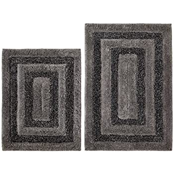 Amazoncom Cotton Craft Piece Bath Rug Set Tweed Race Track - Black and white tweed bath rug for bathroom decorating ideas