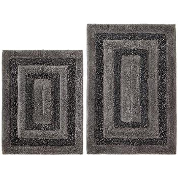 Amazoncom Cotton Craft Piece Bath Rug Set Tweed Race Track - Black and white tweed bath rug for bathroom decorating ideas