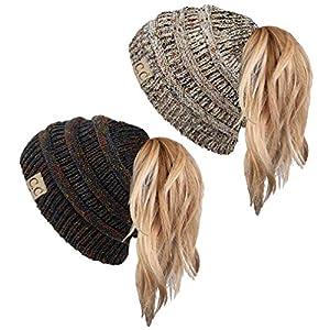 e5b4d1afa7ccd Funky Junque 365 All Season Hat Womens BeanieTail Ponytail Messy Bun Beanie