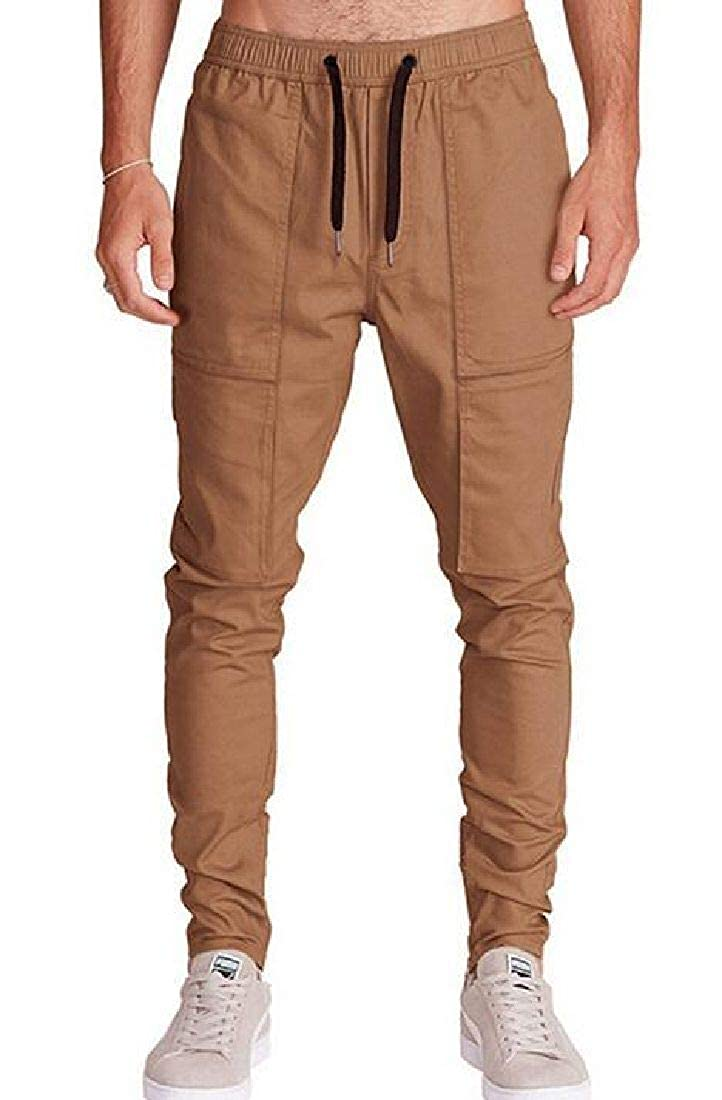 CRYYU Men Hipster Casual Solid Cotton Harem Jogger Pants with Pockets