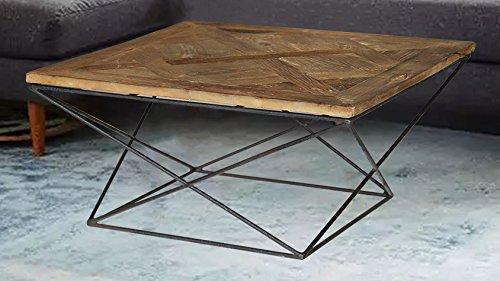 "Magari Furniture GL1559 Torcere Reclaimed Elm Wood Coffee Table - Reclaimed elm wood Stainless Steel 31.5"" x 31.5"" x 16.5"" - living-room-furniture, living-room, coffee-tables - 51Dy%2BWqE9mL -"