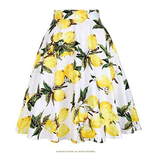 t Jupe Noire Femmes Taille Haute, Plus la Taille imprim Floral  Pois Femmes Jupes d't Skater 50 s Vintage Midi Jupe White Lemon