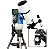 TwinStar White 80mm iOptron Computer Controlled Refractor Telescope With Universal Smartphone Camera Adapter