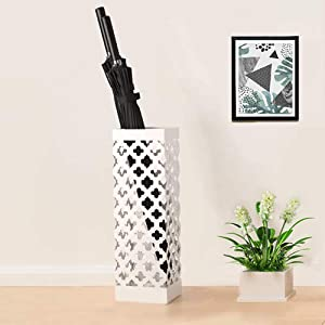 Indoor Umbrella Holder Square Umbrella Stand Rack for Office Home Decor with Drip Tray and Hooks, Long and Short Umbrella Rack Metal Umbrella Holder for Walking Sticks Canes, White