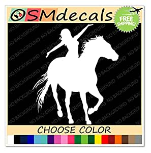 amazoncom white cowgirl riding horse western horse With kitchen colors with white cabinets with horse bumper sticker