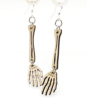 product image for Green Tree Jewelry Natural Wood Color Skeleton Hand Earrings Wood Wooden Laser Cut #1244