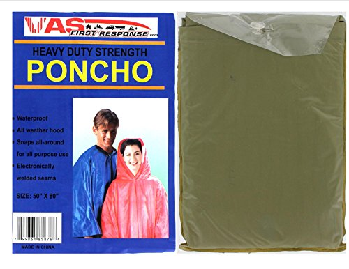 Poncho BULK CASE 50 Heavier Duty Ponchos | Hood | Side Snaps | Vinyl | Child / Adult Sizes | Womens | Men | Boy | Girl | 10 Mil | Vinyl | Emergency | Rain | Lightweight | Adult Green 50