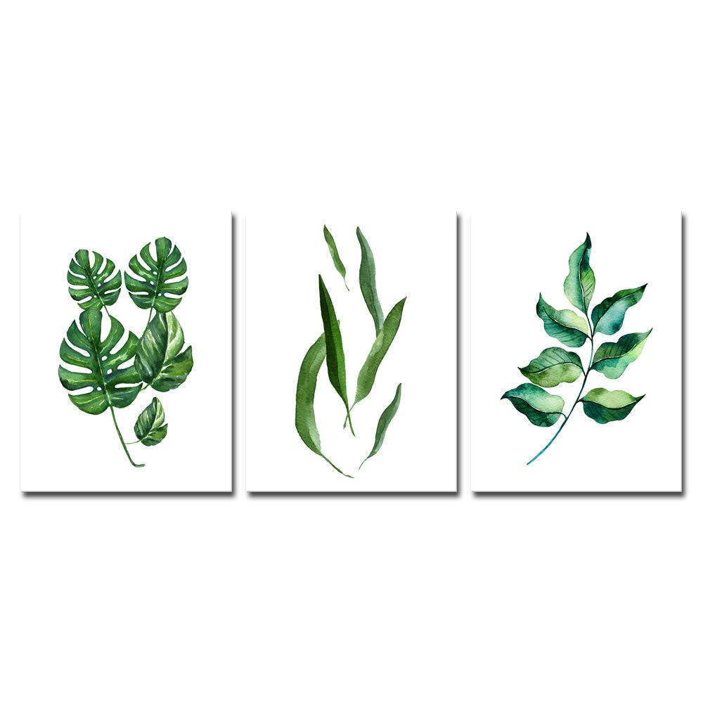 Pyradecor Green Leaves Canvas Prints Wall Art Abstract Watercolor Pictures Paintings for Living Room Bedroom Home Decorations 3 Piece Modern Stretched and Framed Grace Floral Giclee Artwork