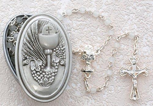 Religious Girls Gift 5MM White Glass Bead Pewter 17 Inch ...