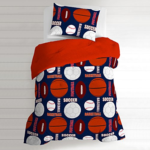 TN 2 Piece Kids Blue Orange Basketball Comforter Twin Set, All Sports Bedding Athletic Pattern Soccer Balls Baseball Football White Red Brown, Cotton by TN