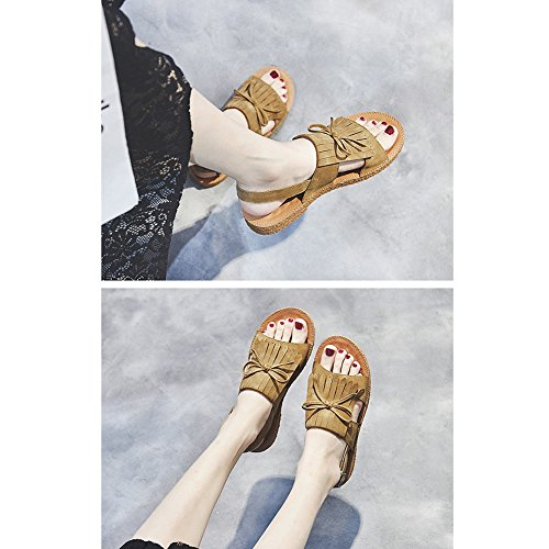 Colores 3 color zapatos 245 Tamaño Lixiong uk6 Con Negro Zapatos cn39 Mujer Una Eu39 De Cm Cómodos Planos Moda Verano Sandalias Suaves Altura Albaricoque BBO6Ppq