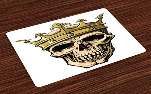 King Place Mats Set of 4 by Ambesonne, Dead Skull Skeleton Head with Royal Crown Tiara in Hand Drawn Style Image, Washable Placemats for Dining Room Kitchen Table Decoration, Golden and Pale Brown