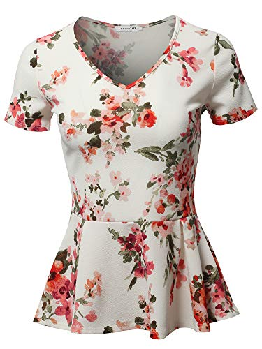 (SSOULM Women's Classic Stretchy Short Sleeve Flare Peplum Blouse Top FLORALCREAM)