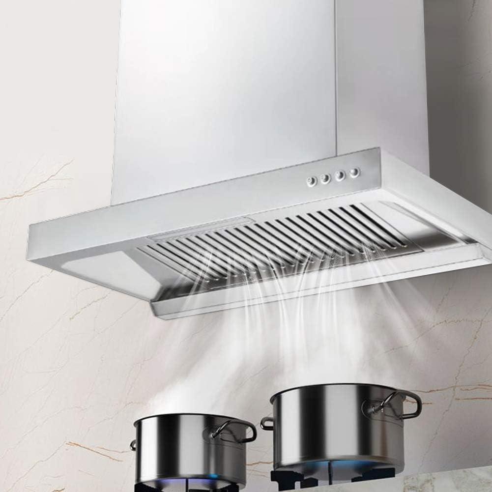Campana extractora de cocina de aleación de aluminio Campana extractora de pared del flujo de aire 840 m³/h Volumen de aire de escape, 160 mm Salida de aire, 34 x 60 x 38 cm (EU 220 V)