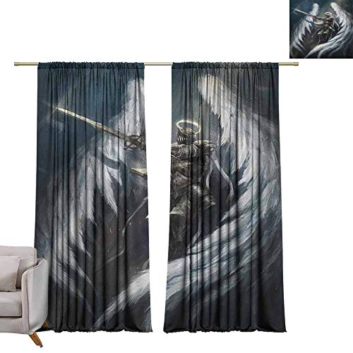 berrly Tie Up Window Drapes Living Room Fantasy,Angel Knight with Majestic Wings Spiritual Superior Power Imagination Art Print, Silver White W96 x L108 Pocket Thermal Insulated Tie Up Curtains