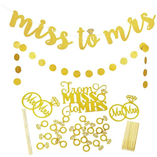 Gold Glittery Miss to Mrs Banner with Diamond Ring,Gold Glittery Circle Dots Garland Cake Topper Decorations Bachelorette Engagement Wedding or Anniversary Party Decoration Bridal Shower Supplies]()