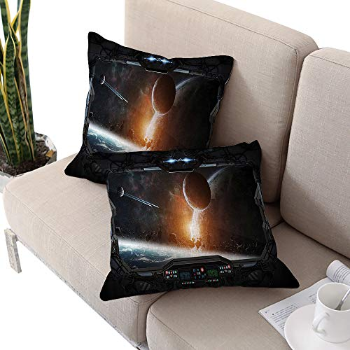 (Outer Space Square Standard Pillowcase,Scenery of Planets from The Window of a Shuttle Bodies Astronaut Space Station Gray Orange W16 xL16 2pcs Cushion Cases Pillowcases for Sofa Bedroom Car)