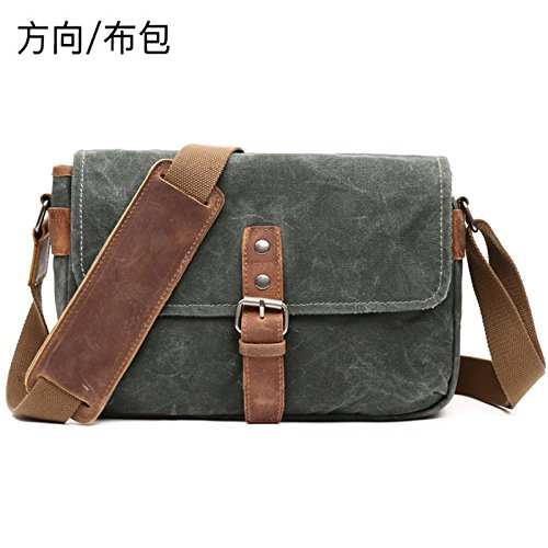 KEROUSIDEN Leisure Shoulder Bag Direction Cloth Bag Casual Shoulder Bag Oil Wax with mad Horse Bag Waterproof Retro Camera 29cm10cm20cm, Lake Green by KEROUSIDEN