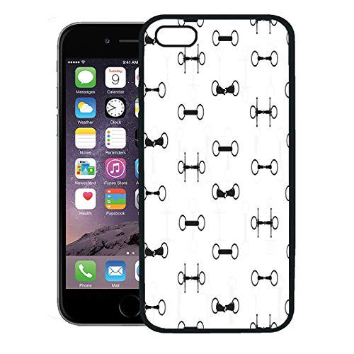Semtomn Phone Case for iPhone 8 Plus case,Equestrian Vintage Equine Saddles and Bits Perfect Horseriding Horse Supplies Pattern iPhone 7 Plus case Cover,Black