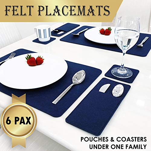 Set Of 6 Placemats For Dining Table - 6 Table Placemats, Drink Coasters And Cutlery Pouch Holder - Protective Dining Table Mats And Dining Table Placemats - House Warming Gifts New Home (blue) (Set Up Christmas Table)