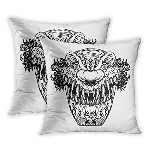 Suike Set of 2 Throw Pillow Covers Creepy Scary Cartoon Clown Horror Movie Zombie Face Character Polyester Soft Cozy Square Decorative Pillowcases for Sofa Bedroom 20x20 Inches]()