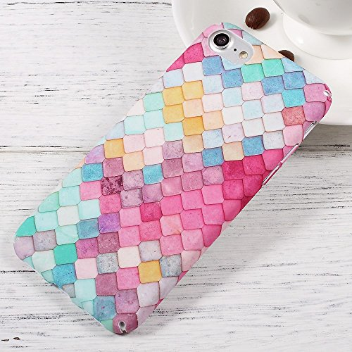 Matte Finish Embossed PC Back Tasche Hüllen Schutzhülle für iPhone 7 - Colorful Mermaid Scale