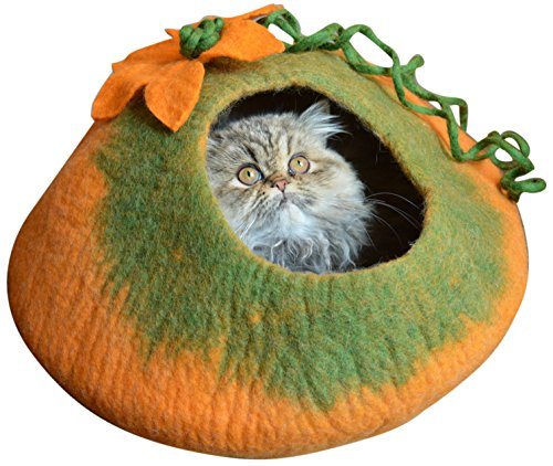 Earthtone Solutions Best Cat Cave Bed, Orange Green Handmade Natural Felted Merino Wool, Large Covered and Cozy, Also Perfect for Kittens, Includes Bonus Catnip, Original Cat Caves (Radiant Realm)