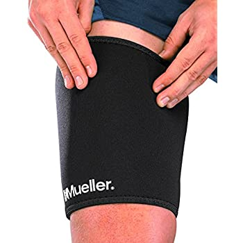 Mueller Sports Medicine Neoprene Thigh Sleeve, Black, Small, 1 count package