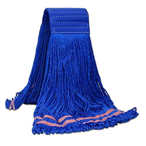 Microfiber String Mop - Microfiber String Mop | Industrial Wet Mop | Absorbent, Machine Washable (Large, Blue)