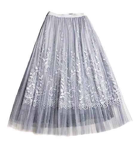 (Sexybaby Women's Slim Swing Embroidered Gauze A-Line Maxi Skater Skirt Blue M)