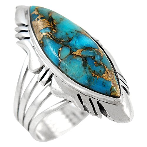 - Sterling Silver Ring with Genuine Turquoise (SELECT color) (Teal/Matrix, 11)