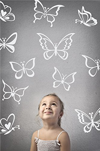 The Decal Guru Butterfly Wall Art Vinyl Stickers DIY Nursery or Girls Room Decor Peel and Stick Butterflies Decals (White, 24x25 inches) -
