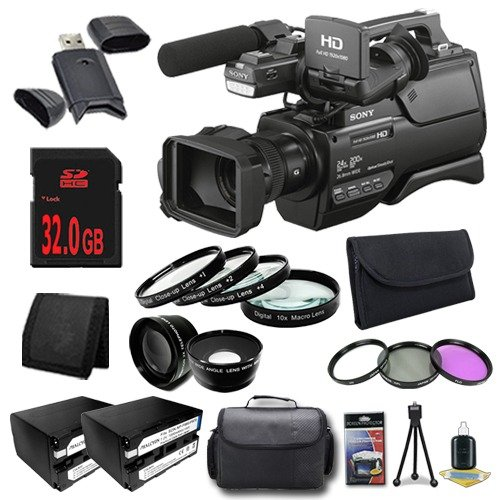 Sony HXR-MC2500 Shoulder Mount AVCHD Camcorder + NP-F970 Replacement Lithium Ion Battery + 32GB SDHC Class 10 Memory Card + 37mm 3 Piece Filter Kit + 37mm Macro Close Up Kit + 37mm Wide Angle Lens + 37mm 2x Telephoto Lens + XL Rugged Camcorder Case + SDHC Card USB Reader + Memory Card Wallet + Deluxe Starter KitBundle - International Version (No Warranty)