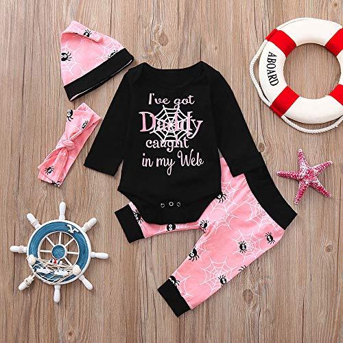 MOKO-PP Newborn Baby Letter Romper Tops Cartoon Prin Pants Cap Halloween Clothes Sets(black,90)