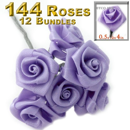 - The Crafts Outlet Twelve Bundle 12 Handmade Folded Ribbon Roses, 0.50-inch Wide Rose 4-inch Long Wire stem, Lavender Purple