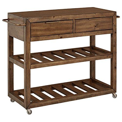 - Stone & Beam Alejandra Unfinished Wood Kitchen Island Bar Cart with Wheels, Brown