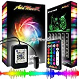 Addmotor Motorcycle LED Light Strip Kit RGB 18pcs Multicolour Remote App Cotrol Flexible Strip Kit with Music Sync for Universal Motorcycle (18pcs Remote App Control)