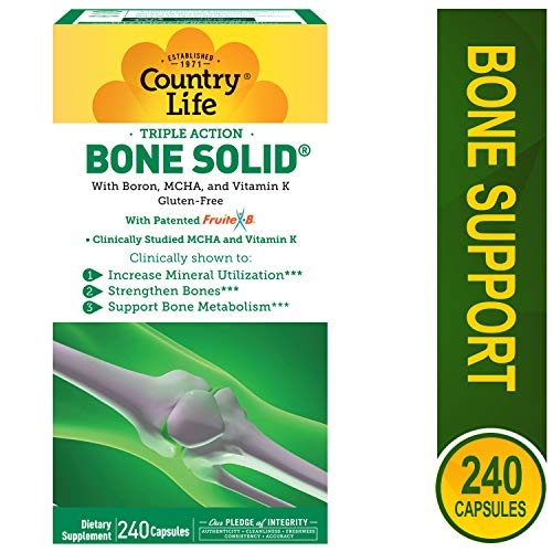 Country Life Triple Action Bone Solid - 240 Capsules - Increase Mineral Utilization - Strengthen Bones - Bone Metabolism