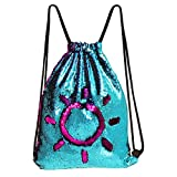 MHJY Mermaid Bag Sequin Drawstring Backpack Dancing Bag Fashion Dance Bag Sequin Backpack Flip Sequin Bling Hiking Bags (Lake Blue/Rose Red)