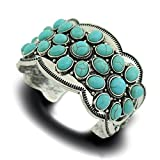 Jianxi Synthetic Turquoise Carved Silver Plating Alloy Chain Vintage Bangle Bracelet for Women Girls Gift