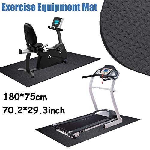 dDanke NBR Black Exercise Equipment Treadmill Mat Waterproof Anti-Vibration 180x75cm 4mm