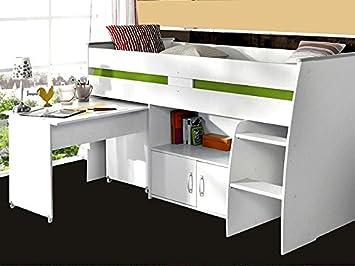 Hochbett Rean 1 204x110x177cm weiß Kinderbett Schreibtisch Kommode ...