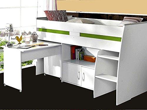 Hochbett Rean 1 204x110x177cm Weiss Kinderbett Schreibtisch Kommode