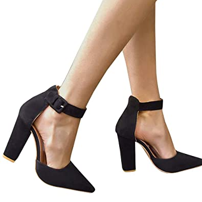 8a1291324c2 Fashare Womens Pointed Toe Chunky High Heels Ankle Strap D Orsay Dress Pumps  Shoes Black