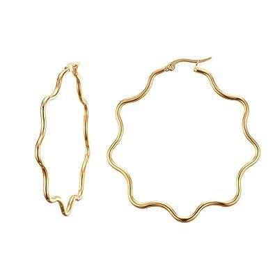 Onefeart Edelstahl Ohrringe Für Frauen Exquisit Geometrisch Welle