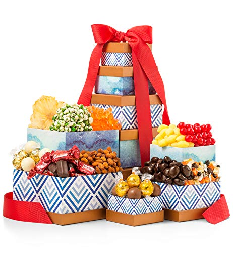GiftTree Sweet & Savory Gourmet Gift Tower   Snacks Include Gummy Bears, Fresh Almonds, Roasted Cashews, Savory Snack Mixes & More   Perfect Gift for Holiday, Office, Birthday, -