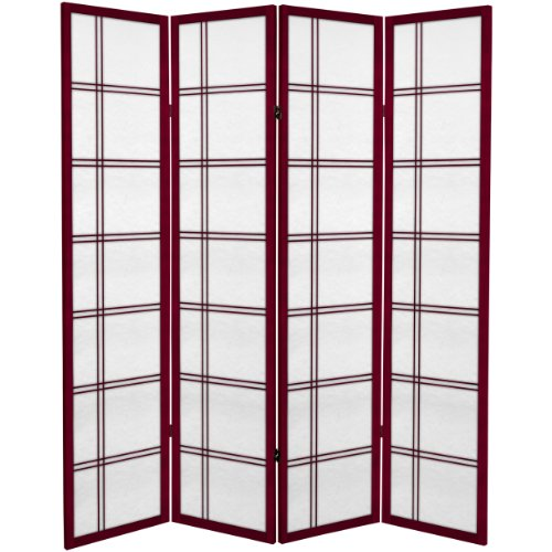 Oriental Furniture 6 ft. Tall Canvas Double Cross Room Divider - Rosewood - 4 Panels