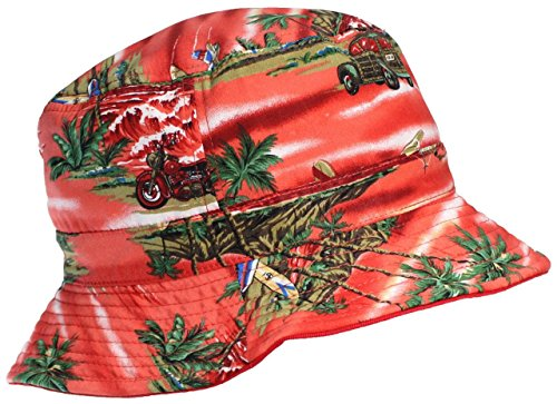 E-Flag Original Adult Reversible Tropical/Hawaiian Lightweight Cotton Bucket Hat - (Floral Reversible Hat)